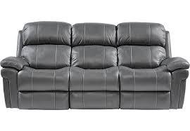 Trevino Smoke Leather Reclining Sofa Sofas Gray