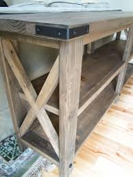 Diy Rustic X Console Table Built From 2x6s 2x4s 2x2s And 1x12s
