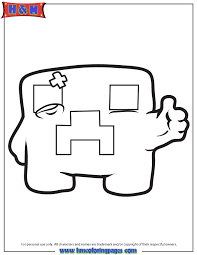 Minecraft Creeper Thumbs Up Coloring Page