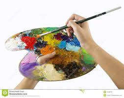 Artists Hands Holding A Paint Brush And Palette