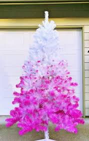 An Ombre White To Neon Pink Tree Doesnt Require Much Decor