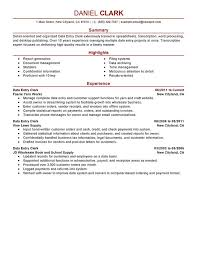 Data Entry Clerk Resume Sample