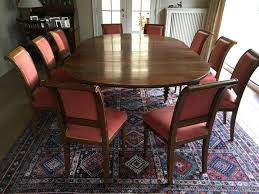 Rectangular Walnut Dining Room Table With Rounded Sides