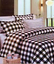 Rosepetals Myra Checks & Stripes Black White double Bed Sheet