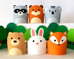 Paper Craft Animals Pretend Play Toys For Kids DIY Forest Playset Woodland Creatures Printable Puppets Dollhouse PDF