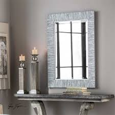 100 Modern Chic Details About Blue Gray Silver Striped Wood Wall Mirror Rectangular Coastal Beach