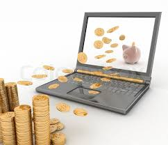 fly cuisine 3d piggy bank and laptop fly into your computer 3d illustration