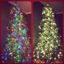 imposing decoration white tree with colored lights