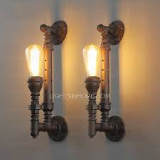 primitive water pipe shaped e26 e27 small industrial wall light