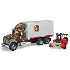 Bruder Mack UPS Truck With Forklift - Bruder Toys - Pumpkin And Bean
