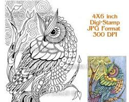 Moon Owl Fairy Tangles Adult Coloring Book Printalbe Sheet Owls Digi Pages Zentangle Norma Burnell