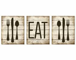 Chic Inspiration Fork Wall Decor In Conjunction With Kitchen Art Etsy Eat Print Rustic Faux Wood