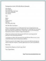 Perfect Resume Example Resignation Letter With No Notice