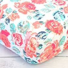 Coral And Navy Baby Bedding by Fitted Crib Sheet Summer Blooms Flower Floral Nursery Coral