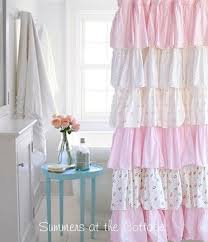 Pink Ruffled Window Curtains by Cottage Colors Ruffle Shower Curtain Pink Roses Pink Roses