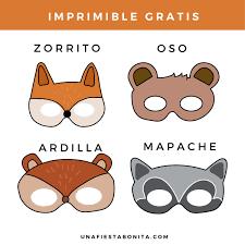 Kit imprimible Animalitos del Bosque Cumpleaños Mascara de