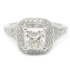 Princess Cut Pave Antique Vintage Style Diamond Engagement Ring KP49