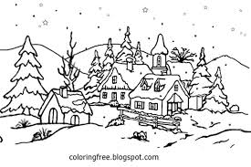 Coloring PagesVillage Page Snowflake Countryside Teenage Pages Winter Snow Scenes Clipart Craft Activity