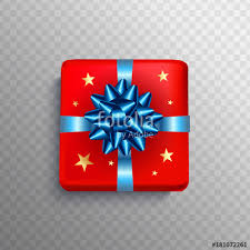 Christmas Gift box red present in blue ribbon bow Square Christmas t box for Birthday