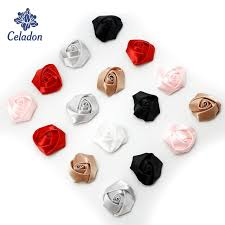 10pcs 40mm Artificial Mini Silk Rosettes Fabric Flowers Head Making Handmade Satin Ribbon Roses DIY Craft