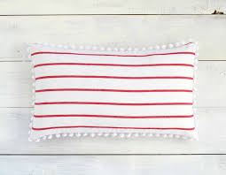 Decorative Lumbar Throw Pillows by Red Stripes And White Pom Pom Lumbar Pillow Cover 12 X 20
