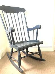 Vintage Hand Painted Grey Rocking Chair