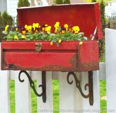 Neat Idea Flower Box From A Rusty Tool And Metal Shelf Brackets Perfect For My Dads Old That I Just Cant Part With