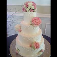 Simple classic wedding cake pink rose floral topper