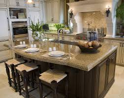 Eat In Kitchen Island With Tan Granite Counters