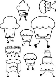 Kawaii Food Cupcake Coloring Pages Printable