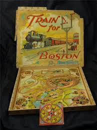 RARE Antique 1900s Train For Boston Toy Board Game Parker Brothers Salem Mass