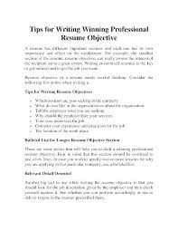 Objective Writing For Resume Internship Samples Tips On