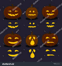 Scary Faces For Pumpkins Template by Set Carved Scary Halloween Pumpkins On Stock Vector 492258352