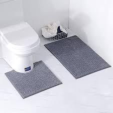 homcomodar badematten set 2 stück chenille waschbare badteppich set mit uförmig toilette badvorleger für badezimmer dunkel grau