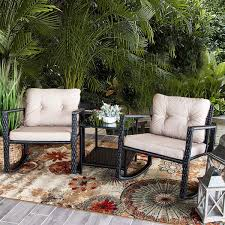 Amazon.com: Barton Patio Rocking Chair 3pcs Set Patio Wicker Rattan ... Hanover Outdoor Orleans 5piece Porch Rocker Set With Cherry Red Retro Patio 3 Pc Metal Rocking Chair Tortuga Portside Plantation Dark Roast 3piece Wicker White Plastic Chairs Cr Generation The Classic All Weather Bayview Magnolia Art Epicenters Austin Paint Darrow Polywood Jefferson Pwrockerset3 Fniture 3pc Lazboy Avery Piece Bistro In Blue Kmart