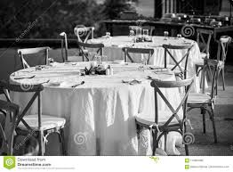 Wedding Reception Dinner Table Setting With Folding Lawn ...