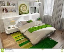 schlafzimmer mit grünem teppich stockbild bild