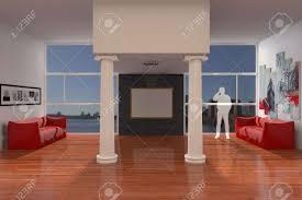 wohnzimmer mit sofas und säulen und großen fenstern