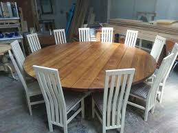 Rustic Oak Round Dining Table For 8