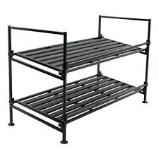 2 Tier Ebony Metal Shoe Rack
