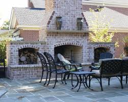 Living spaces outdoor furniture brick outdoor fireplace chimney