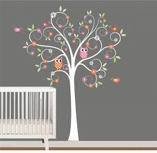 Tree Wall Decor Baby Nursery by Interior Chic Baby Nursery With Great Owl Tree Wallpaper Also