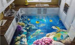 Vinyl Floor Tiles Custom High Quality Wall Paper Waterproof 3d Tropical Fish Photo Wallpaper Self Adhesive In Wallpapers From Home