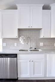 smoke glass subway tile white shaker cabinets shaker cabinets