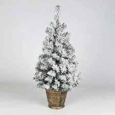 Potted Christmas Tree by 2ft Battery Pre Lit Snow Flocked Artificial Potted Christmas Tree