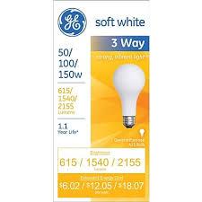 50 100 150 watt 3 way ge a 21 incandescent bulb soft