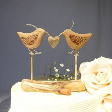Natural Wood Wedding Cake Topper Love Birds Rustic Woodland Decor Anniversary Gift
