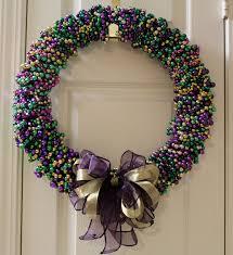 Mardi Gras Wooden Door Decorations by Sew In Love Mardi Gras Bead Wreath Tutorial