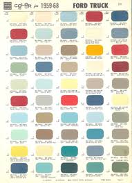 100 Truck Colors 1968 Ford Color Chart Color Chart For 1959 1968 Ford Mercury