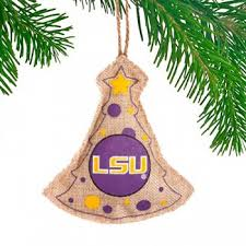 LSU Tigers Burlap Christmas Ornament